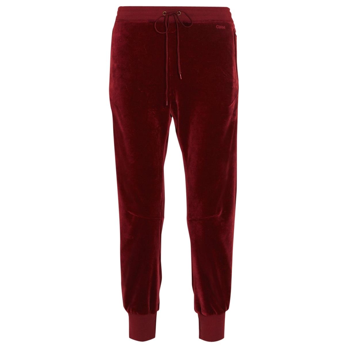 Chloé \N Red Velvet Trousers for Women 34 FR