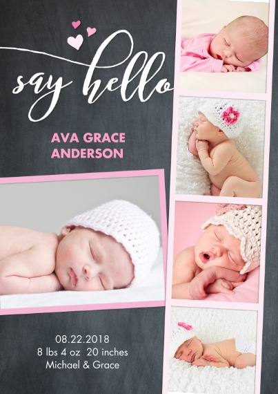 Baby Girl Announcements 5x7 Cards, Premium Cardstock 120lb, Card & Stationery -Baby Chalk Pink