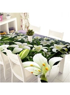 3D Blooming White Flowers Printed Thick Polyester Table Cover Cloth