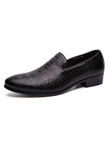 Milanoo Man\'s Dress Shoes Fashion Round Toe Crocodile Pattern Slip-On