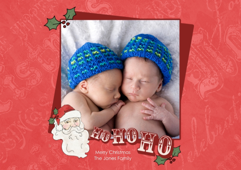 Christmas Photo Cards 5x7 Cards, Premium Cardstock 120lb with Scalloped Corners, Card & Stationery -Ho, Ho Holiday