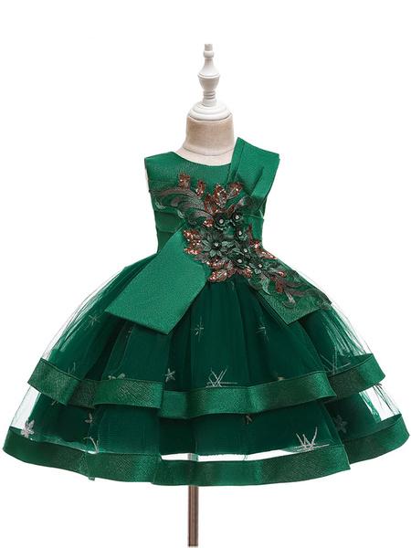 Milanoo Flower Girl Dresses Jewel Neck Tulle Sleeveless Knee Length Ball Gown Bows Kids Party Dresses