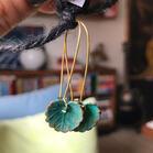Bohemian Turquoise Lotus Leaf Pendant Earrings