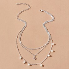 1pc Faux Pearl Decor Gemstone Decor Layered Necklace