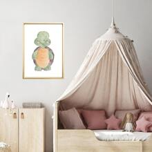 Kids Cartoon Tortoise Print Wall Painting Without Frame