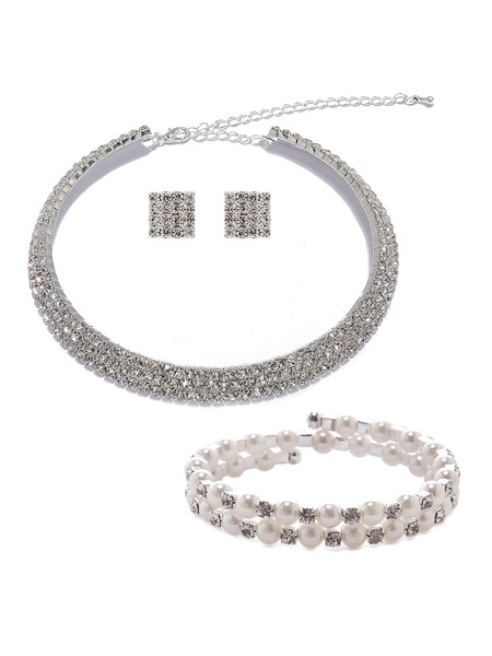 Milanoo Bridal Necklace Set Rhinestone Beading Choker With Earring Stud And Pearl Bracelet