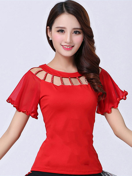 Milanoo Ballroom Dance Costume Top Red Women Short Sleeve Cut Out Training Dancing Clothes