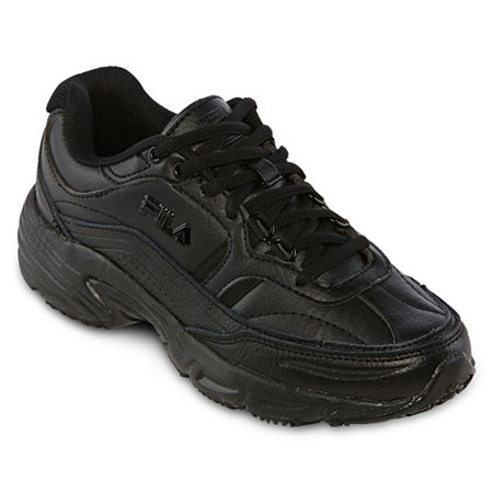 Fila Memory Workshift Womens Slip-Resistant Athletic Shoes, 8 Wide, Black