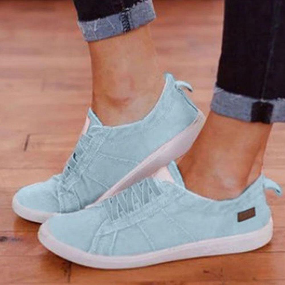 Plus Size Women Casual Canvas Lace Up Flat Shoes