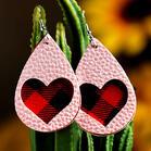 Plaid Love Heart Dual-Layered PU Leather Earrings