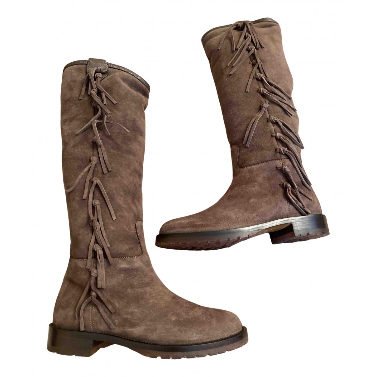 Valentino Garavani \N Brown Suede Boots for Women 36.5 IT