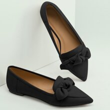 Pointed Toe Bow Detail Slip On Ballet Flats