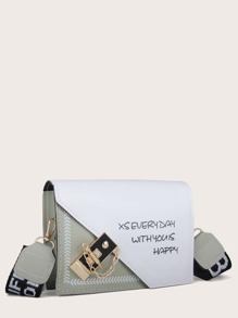 Letter Graphic Toggle Lock Crossbody Bag