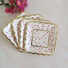 8pcs Polka Dot Pattern Disposable Plate