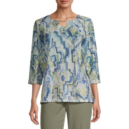 Alfred Dunner Palo Alto-Womens Keyhole Neck 3/4 Sleeve T-Shirt, Large , Blue