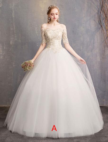 Milanoo Tulle Wedding Dress Off The Shoulder Half Sleeve Princess Bridal Gown