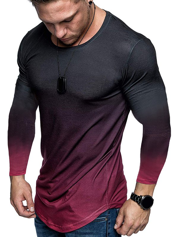Ombre Slim Fit Crew Neck Long Sleeve T-shirt