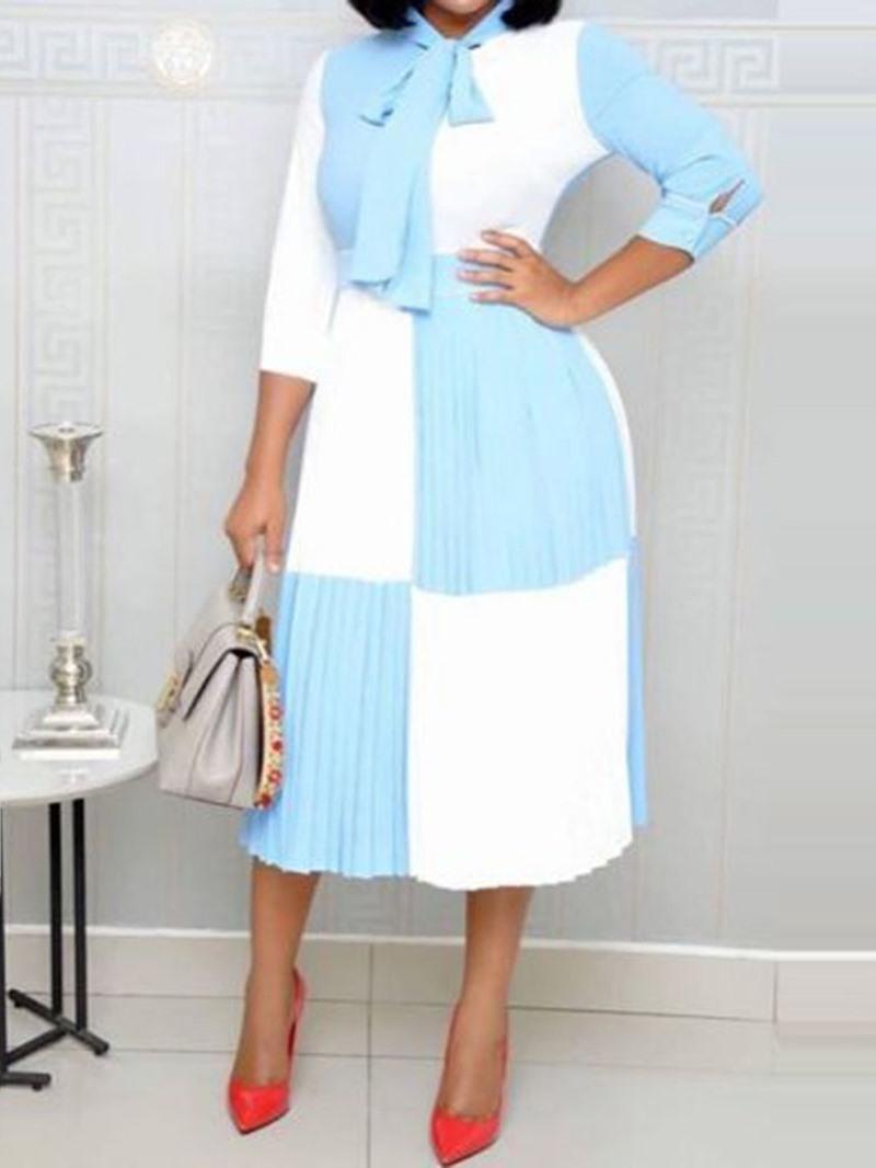 Ericdress Nine Points Sleeve Ankle-Length Color Block Dress