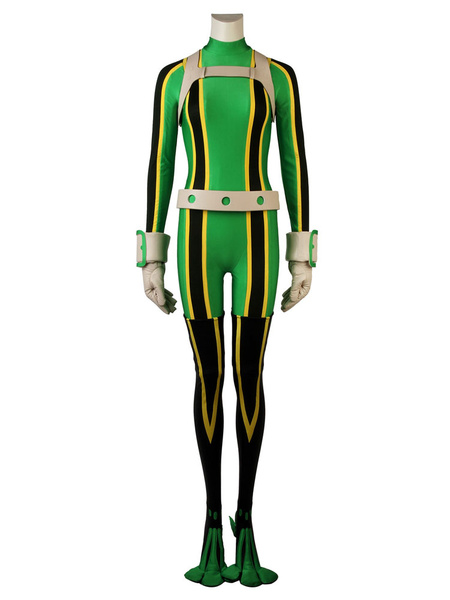 Milanoo Boku No Hero Academia Tsuyu Asui Froppy Halloween BNHA Cosplay Costume Deluxe Version