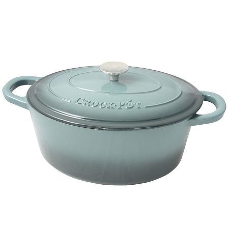 Crock Pot Artisan 7 Quart Enameled Cast Iron Dutch Oven Oval, One Size , Gray