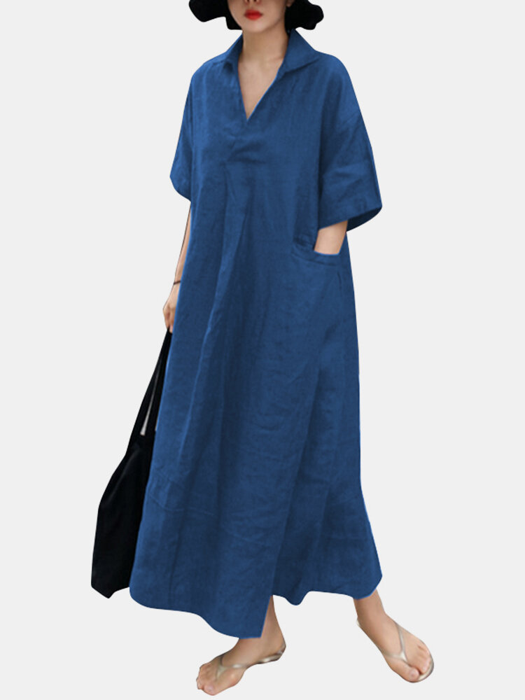 Solid Color Lapel Collar Half Sleeve Midi Dress