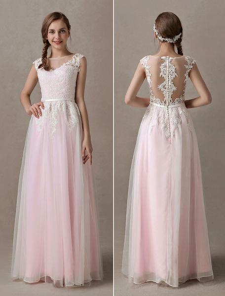 Milanoo Wedding Dresses Soft Pink Lace Applique Tulle Summer Beach Bridal Dress Sash Illusion Floor Length Colored Wedding Dress