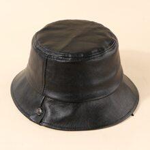 Toddler Kids PU Leather Bucket Hat
