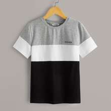Boys Letter Graphic Heather Gray Panel Colorblock Tee