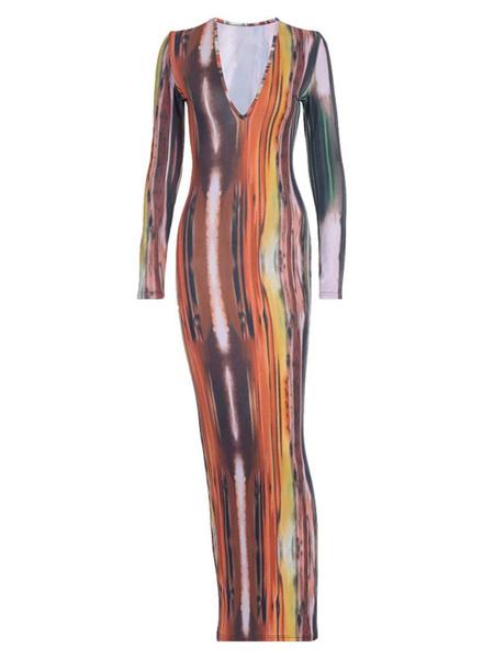 Milanoo Grey Maxi Dresses Women V-Neck Long Sleeves Tie Dye Floor Length Dress