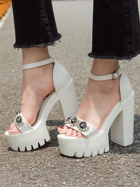 Milanoo Heel Sandals Sandals Black Chunky Heel Square Toe PU Leather