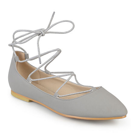 Journee Collection Womens Fiona Lace-Up Flats, 9 Medium, Gray