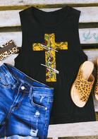 Faith Sunflower Cross Tank - Black