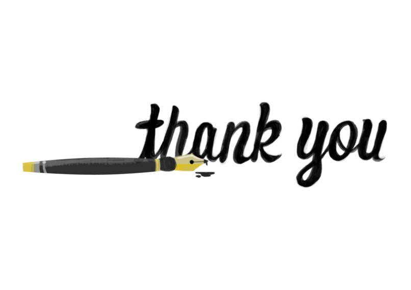 Thank You Cards 5x7 Cards, Premium Cardstock 120lb with Rounded Corners, Card & Stationery -Pen Thank You