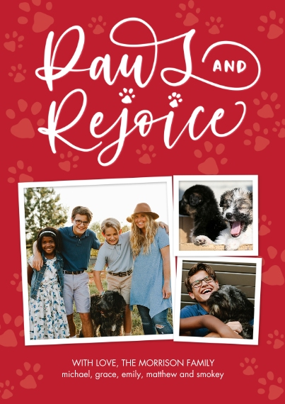 Christmas Photo Cards 5x7 Cards, Premium Cardstock 120lb with Scalloped Corners, Card & Stationery -Christmas Paws Rejoice by Tumbalina