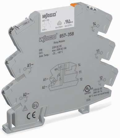 Wago , 115V ac/dc Coil Non-Latching Relay, 6A Switching Current DIN Rail Single Pole