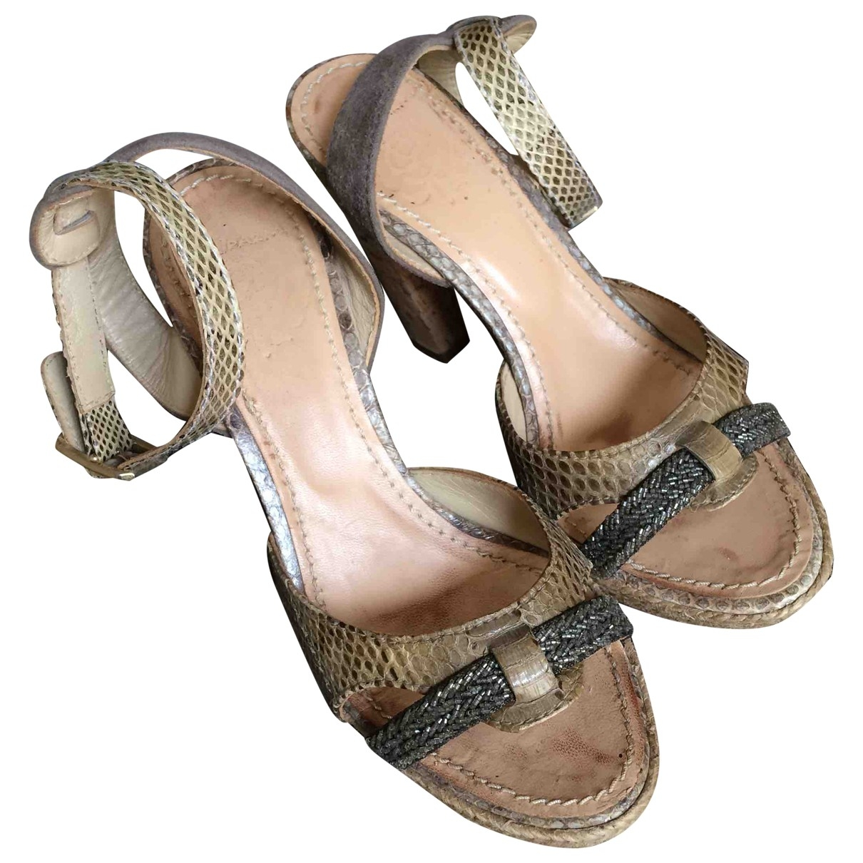 Maliparmi \N Beige Leather Sandals for Women 37 EU