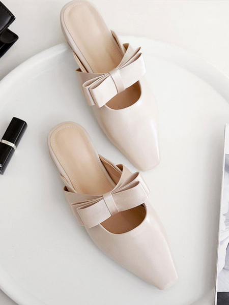 Milanoo Women Flat Mules Light Apricot PU Leather Square Toe Bow Slip-On Slide Shoes