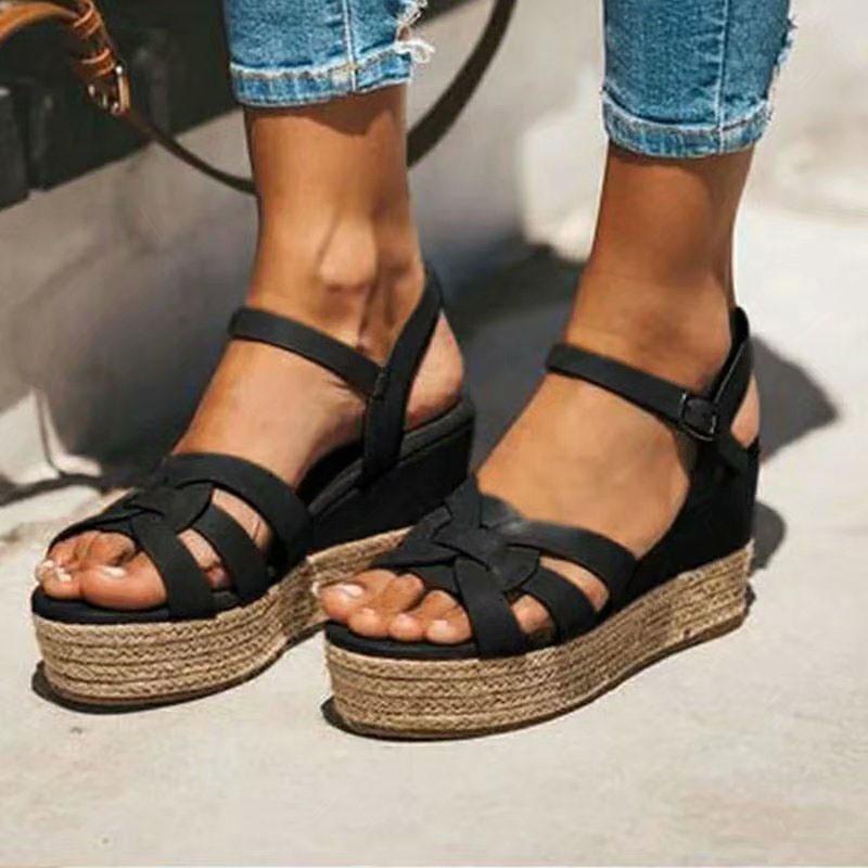 Ericdress Platform Line-Style Buckle Open Toe Plain Sandals