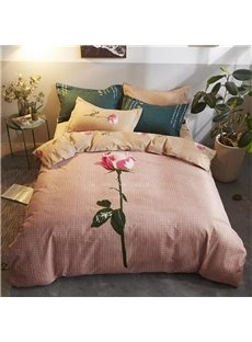 Outstanding Flower Printed Polyester Pink 4-Piece Bedding Sets/Duvet Cover
