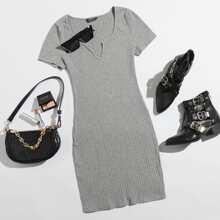 Plus Notched Neck Rib-knit Bodycon Dress