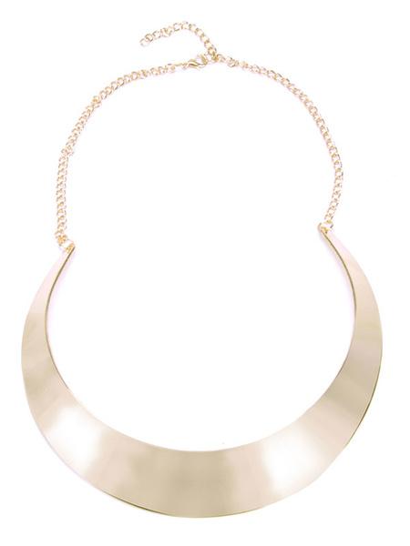 Milanoo Golden Choker Necklace Metal Details New Moon Shape Women's Sexy Club Necklace