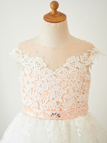 Milanoo Flower Girl Dresses Jewel Neck Sleeveless Pearls Formal Kids Pageant Dresses