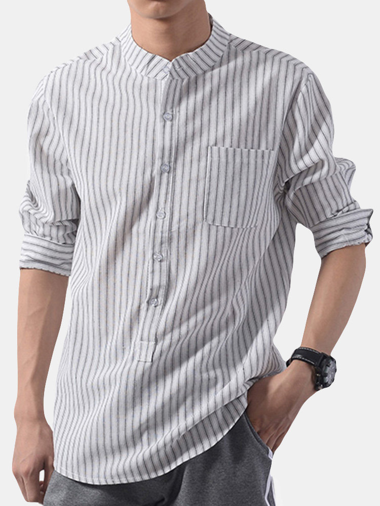Mens Fashion Striped Stand Collar Three-quarter Sleeve Loose Fit Casual Shirt