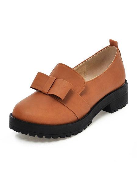 Milanoo Lolita Shoes Bows PU Leather Puppy Heel Round Toe Lolita Pump Shoes