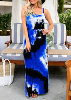 Tie Dye Drawstring Open Back Maxi Dress - Blue