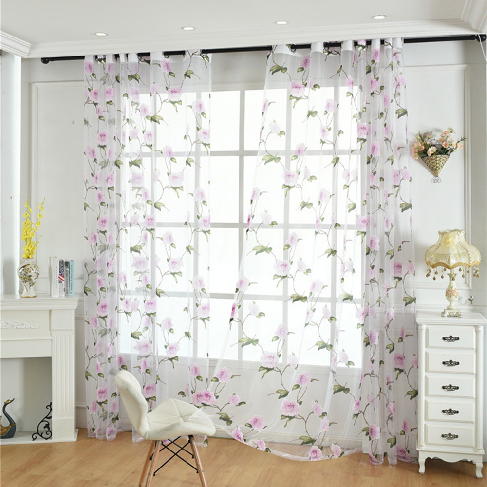 Pastoral Style Floral Print 2 Panels Custom Living Room Bedroom Sheer Curtains Breathable Decoration Sheer Curtain No Pilling No Fading No off-lining