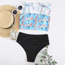 Floral Tie Shoulder High Waisted Bikini Swimsuit