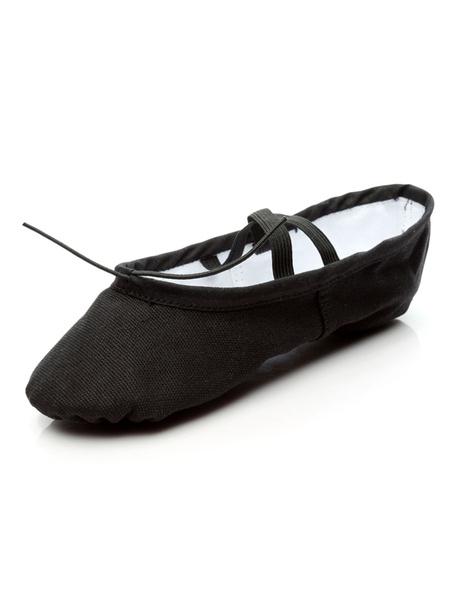 Milanoo Ballet Dance Shoes Ecru White Round Toe Dance Shoes Cotton Ballet Shoes