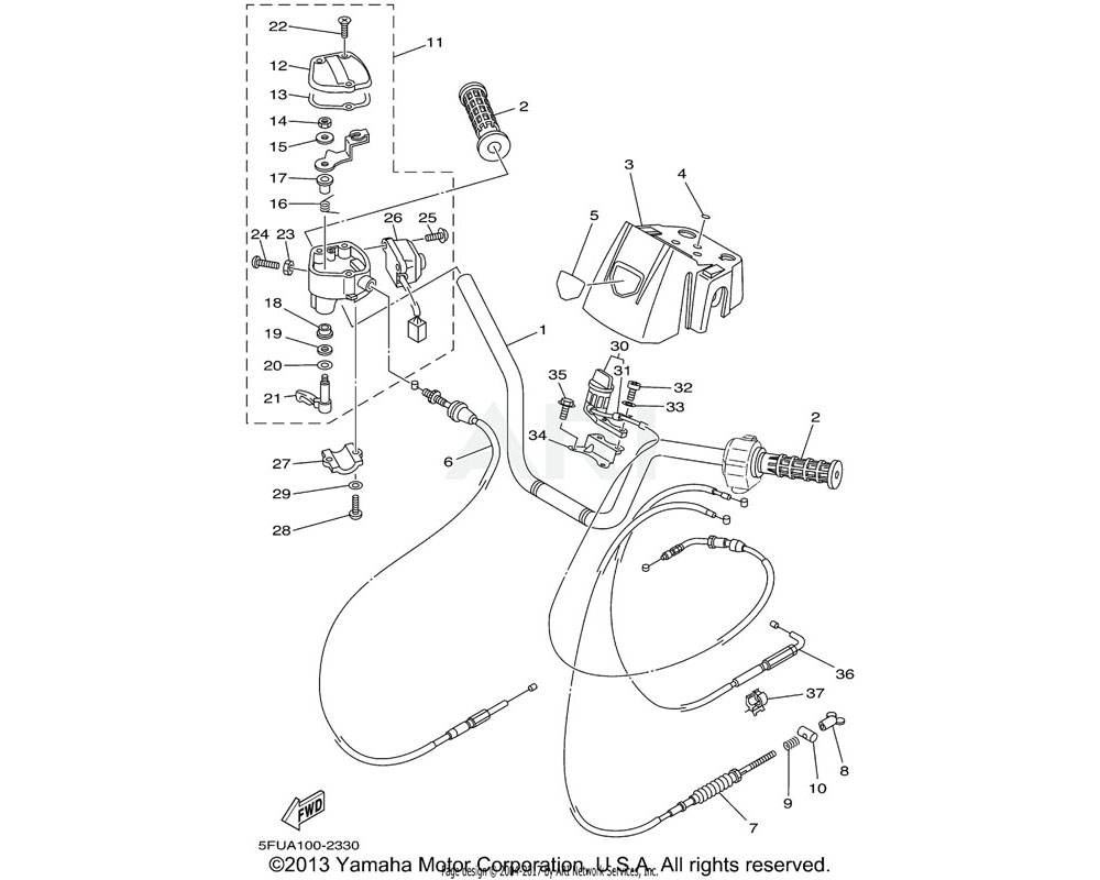 Yamaha OEM 5FU-26341-00-00 CABLE, BRAKE