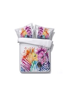 3D Colorful Zebra Couple Printed 5-Piece White Comforter Sets